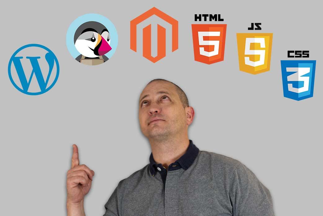 Wordpress, prestashop, magento, html 5, css 3