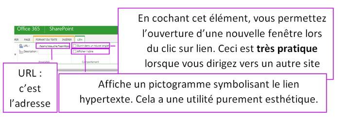 Amélioration d'un lien hypertexte sous SharePoint Online