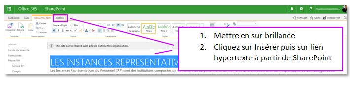 Création un lien hypertexte sous SharePoint Online