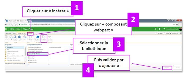Insérer une bibliothèque de document dans une page wiki
