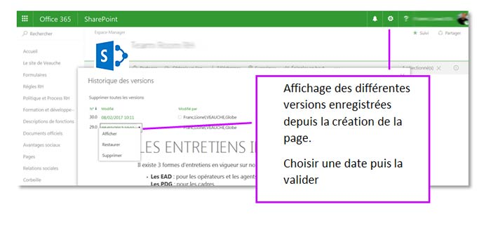 Restaurer une version d'une page SharePoint Online