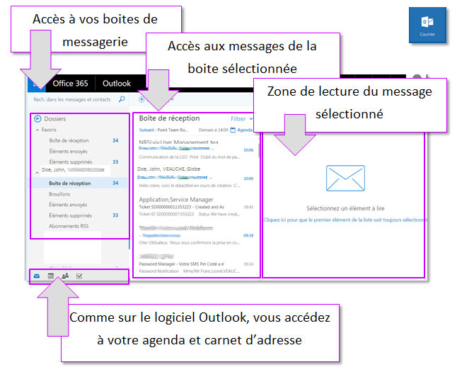 Accueil outlook office 365