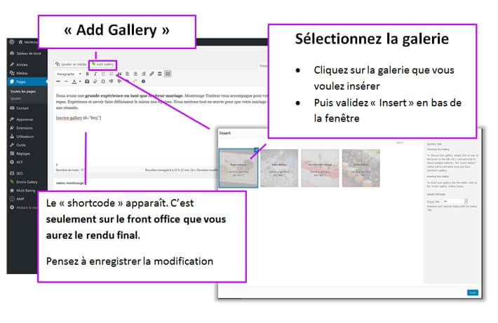 Insertion de la galerie dans un article WordPress