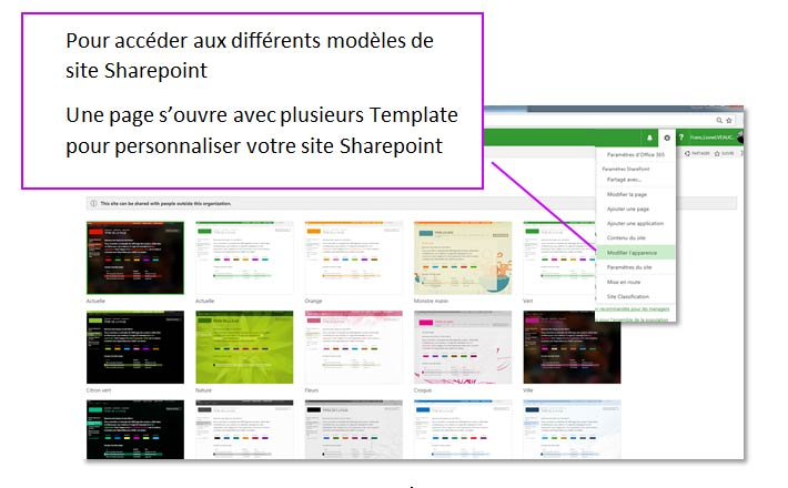 Choix template SharePoint Online
