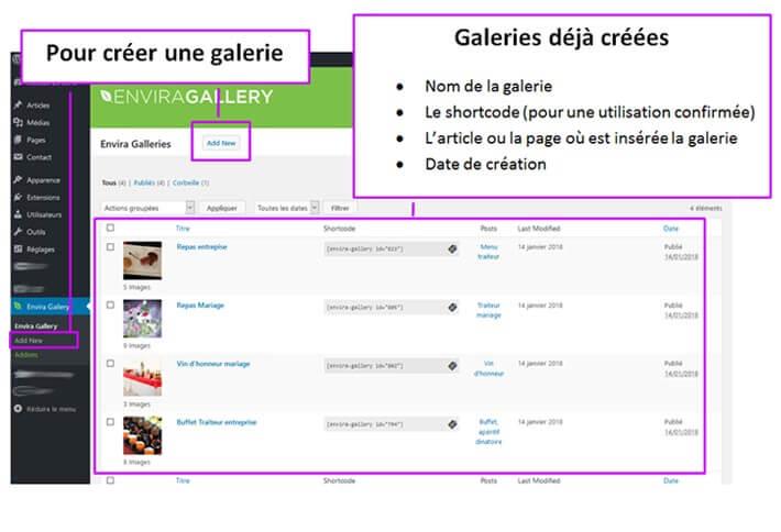 Création, édition galerie Envira WordPress