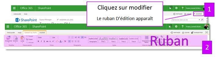 Le Ruban d'édition SharePoint Online
