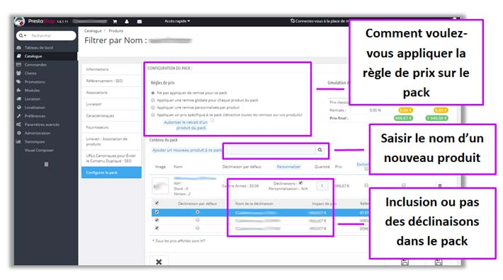 Paramétrage de l'Advanced Pack prestashop