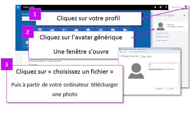 Personnalisation avatar office 365