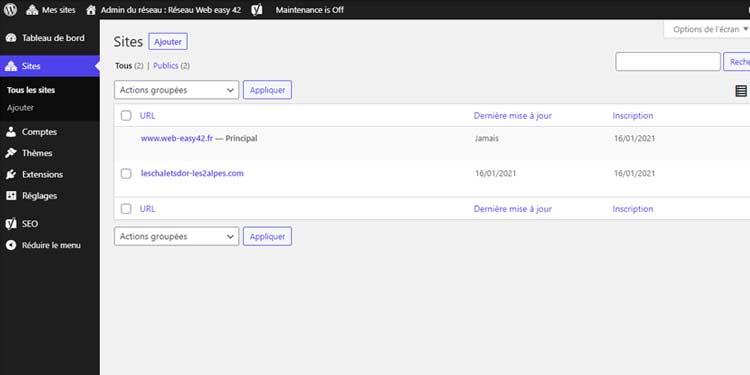 Fin de création du domaine multisite wordpress