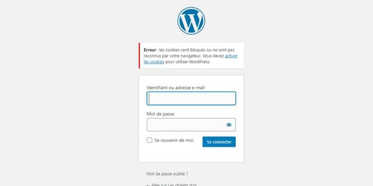 erreur cookie connexion bo wordpress